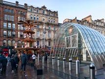 Kerstmismarkt in de stad van Glasgow, het UK Stock Foto's