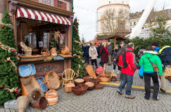 Kerstmismarkt in Dusseldorf, Duitsland Stock Foto