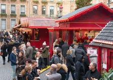 Kerstmismarkt in Dusseldorf, Duitsland Stock Foto's