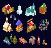 Kerstmismarkt en stads isometrische die reeks op marineblauwe bedelaars wordt geïsoleerd stock illustratie