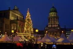 Kerstmismarkt Gendarmenmarkt van Berlijn royalty-vrije stock afbeelding