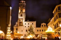Kerstmismarkt in Goerlitz Stock Afbeeldingen