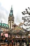 Kerstmismarkt in Hamburg, Duitsland Stock Afbeeldingen