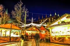Kerstmismarkt in Lübeck, Duitsland Royalty-vrije Stock Afbeeldingen