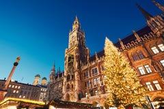 Kerstmismarkt in München Stock Foto's