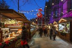 Kerstmismarkt - Manchester - Engeland Royalty-vrije Stock Afbeeldingen