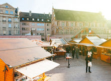 Kerstmismarkt in Mulhouse Stock Fotografie