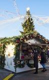 Kerstmismarkt op het Rode Vierkant in Moskou Stock Foto's