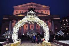 Kerstmismarkt op het Theatervierkant in Moskou royalty-vrije stock foto