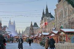 Kerstmismarkt op Rood Vierkant, Moskou Royalty-vrije Stock Foto's