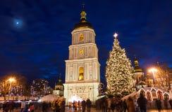 Kerstmismarkt op Sophia Square in Kyiv, de Oekraïne stock fotografie
