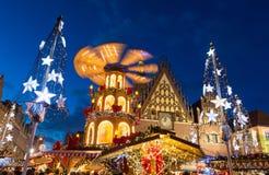 Kerstmismarkt in Oude Stad in Wroclaw, Polen stock afbeelding