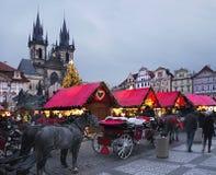 Kerstmismarkt, Praag Royalty-vrije Stock Afbeeldingen