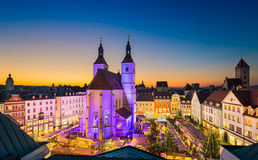 Kerstmismarkt in Regensburg, Duitsland Royalty-vrije Stock Foto's
