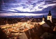 Kerstmismarkt Sibiu Roemenië Royalty-vrije Stock Fotografie