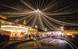 Kerstmismarkt Sibiu Roemenië Stock Foto