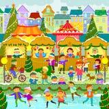 Kerstmismarkt in Stad royalty-vrije illustratie