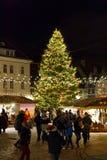 Kerstmismarkt in Tallinn, Estland op December 2017 Stock Fotografie