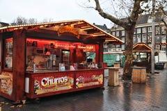 Kerstmismarkt van Amsterdam stock fotografie