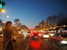 Kerstmismarkt van Champselysees Stock Afbeeldingen