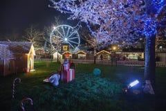 Kerstmismarkt van Galway bij nacht Stock Afbeelding