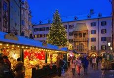 Kerstmismarkt van Innsbruck Stock Fotografie