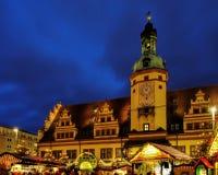 Kerstmismarkt van Leipzig Stock Foto