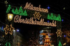Kerstmismarkt van München Royalty-vrije Stock Foto's