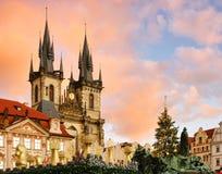 Kerstmismarkt van Praag stock afbeelding