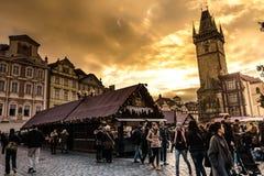 Kerstmismarkt van Praag Stock Foto