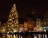 Kerstmismarkt 2017 van Straatsburg stock afbeelding