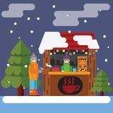 Kerstmismarkt Vector vlakke illustratie Royalty-vrije Stock Afbeeldingen