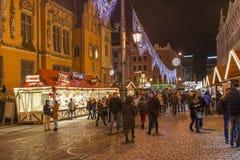Kerstmismarkt in Wroclaw, Polen Royalty-vrije Stock Afbeelding