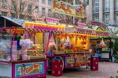 Kerstmismarkt in Wuppertal-Barmannen, Duitsland stock afbeelding