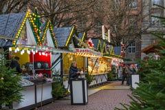 Kerstmismarkt in Wuppertal-Barmannen, Duitsland December 2017 stock fotografie