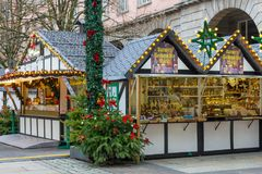 Kerstmismarkt in Wuppertal-Barmannen, Duitsland December 2017 royalty-vrije stock fotografie