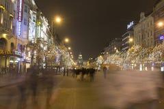 2014 - Kerstmismarkten bij het vierkant van Wenceslas, Praag Stock Foto's