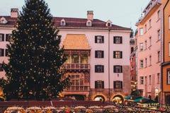 Kerstmismarkten van Innsbruck stock foto's