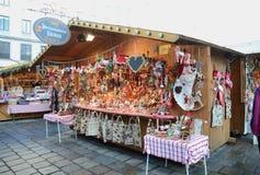 Kerstmismarktkramen, Wenen Stock Afbeeldingen