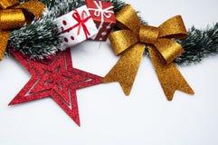 Kerstmismateriaal met lichte achtergrond Stock Fotografie