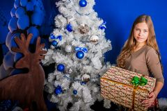 Kerstmismeisje met gift stock afbeelding