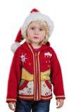 Kerstmismeisje met Kerstmanhoed Royalty-vrije Stock Afbeeldingen