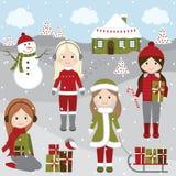 Kerstmismeisjes Royalty-vrije Stock Afbeelding