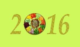 Kerstmismotief met verse saladevitamine (2016, Nieuwjaarskaart - Stock Afbeelding