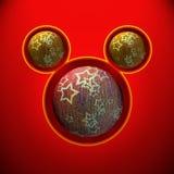 Kerstmismuis met rode en gele bal Royalty-vrije Stock Foto's