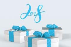 2018 Kerstmisnieuwjaar het van letters voorzien met kleurrijke giftdozen met bogen van linten op de witte achtergrond 3D Illustra Royalty-vrije Stock Fotografie