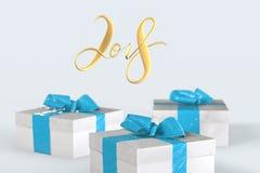 2018 Kerstmisnieuwjaar het van letters voorzien met kleurrijke giftdozen met bogen van linten op de witte achtergrond 3D Illustra Royalty-vrije Stock Foto