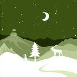 Kerstmisontwerp - de sneeuwweg leidt tot een Kerstboom op de achtergrond is de bergen Stock Afbeelding
