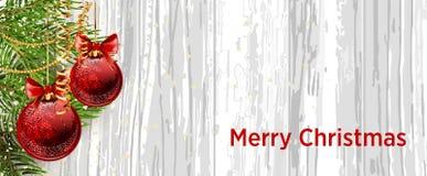Kerstmisontwerp met spar op houten achtergrond Het malplaatje van de Webbanner vector illustratie