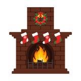 Kerstmisopen haard in kleurrijke beeldverhaal vlakke stijl Kerstmisvooravond, kousen en gift Vrolijke Kerstmis en Gelukkig Nieuwj Stock Afbeeldingen